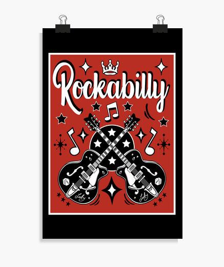 Póster Rockabilly Music Guitarras Retro...