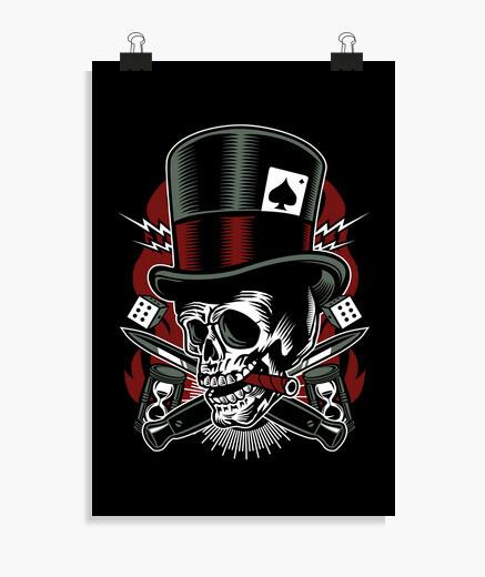 Poster skull bandire i dadi vintage motociclisti