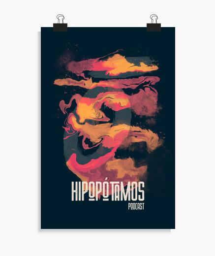 Póster vertical Hipopótamos Art