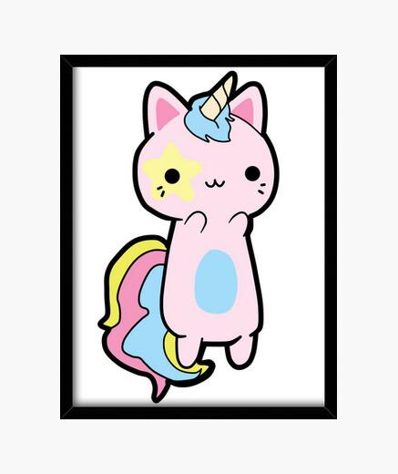 Quadro rainbow gatto kawaii