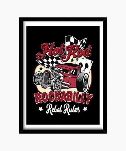 Cadre rétro rockabilly image hotrod rockers USA