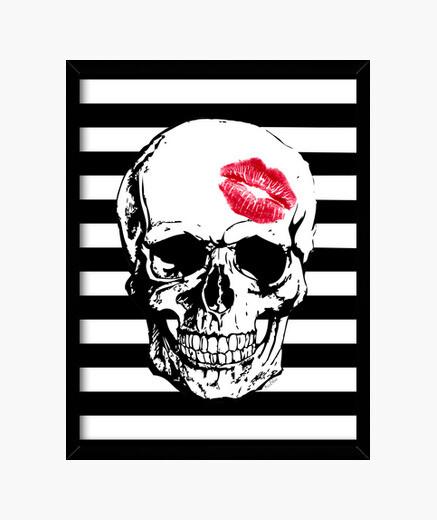 Cadre rouge  tête de mort  baiser