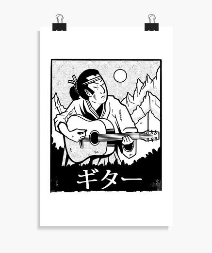 Póster samurai tocando la guitarra