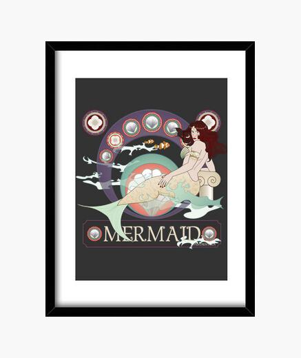 Cuadro Sirena Art nouveau