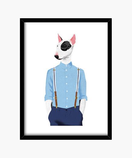 Skinhead bull terrier framed print