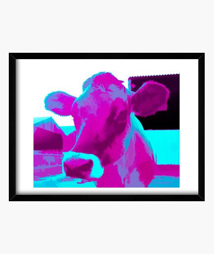 Quadro stampa di mucca pop art