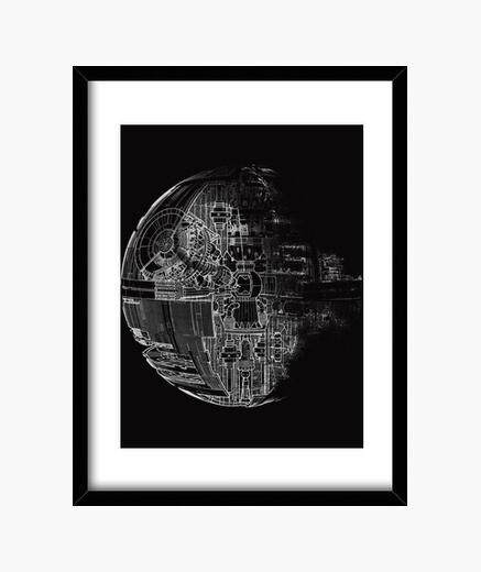 Star of death gray framed print