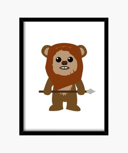 Star wars ewok framed print