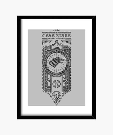 Stark black house framed print