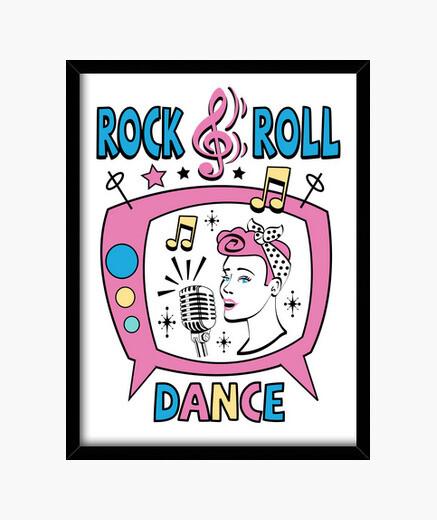 Cadre tableau des années 1950 rock and roll pinup partie de danse rockabilly des années 1960 sock USA