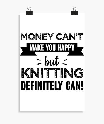 Póster tejer te hace feliz regalo divertido