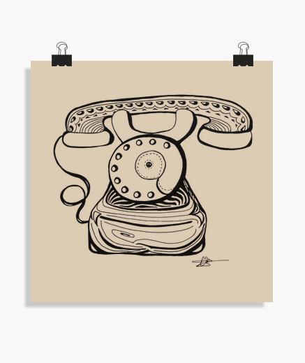 Póster teléfono de la vieja escuela - cartel
