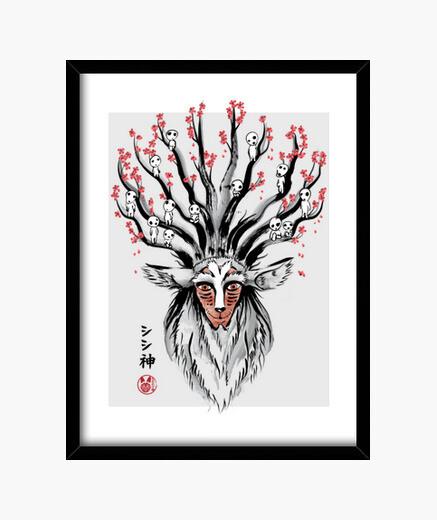 Cuadro The Deer God sumi-e