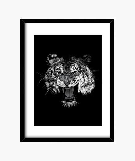 Cuadro Tigre Rugido blanco y negro