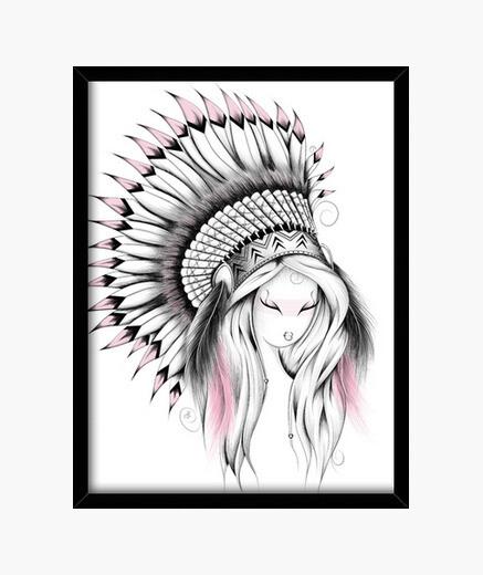 Cuadro tocado de indio versión de color rosa