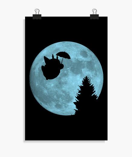 Póster Totoro volando bajo la luna
