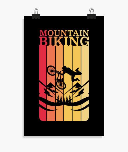 Poster vélo de montagne rétro vtt vélo...