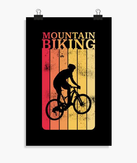 Poster vélo de montagne vintage vtt vélo...