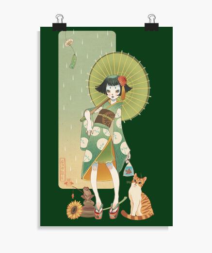 Póster verano kokeshi