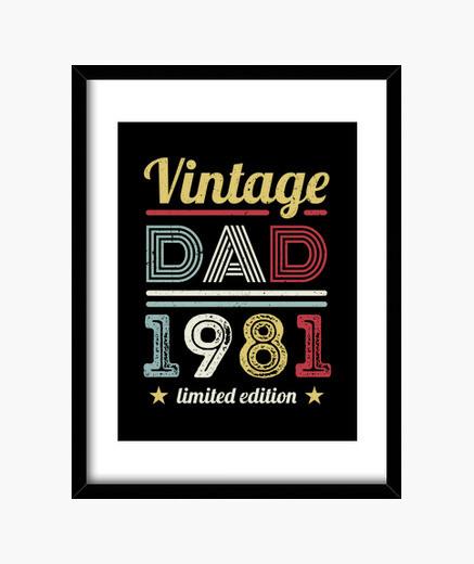 Quadro vintage papà 1981 40 ° compleanno...