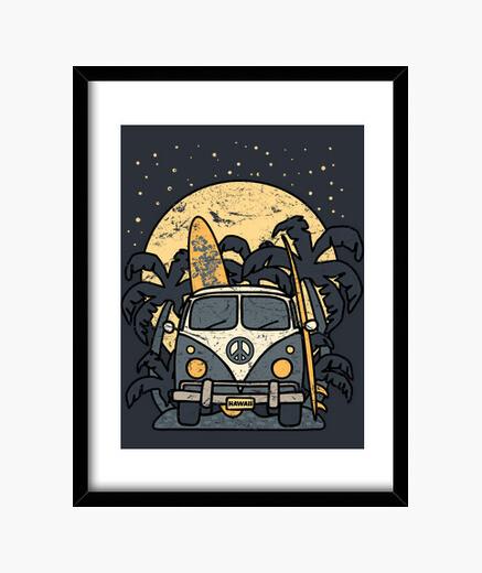 Vintage surf night van framed print