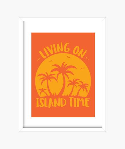 Cadre vivre sur l39île palmiers et coucher de