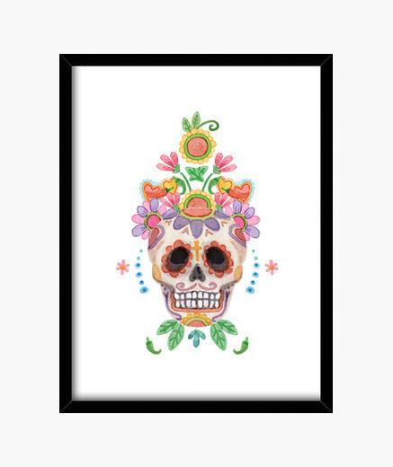 Cuadro Watercolor sugar skull