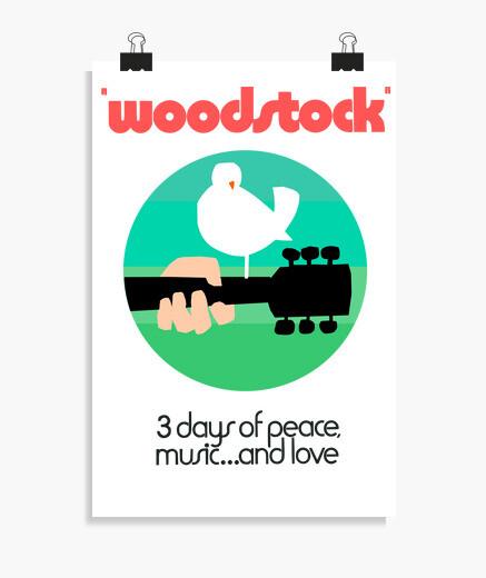 Póster Woodstock 1969 green