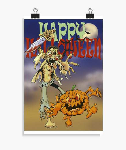 Poster Zombie et citrouille
