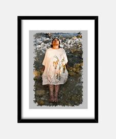 """""""Por tus aguas"""", Cuadro con marco negro vertical, McHarrell original. 3:4 (15 x 20 cm)"""