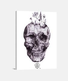 tête de mort  et des fleurs