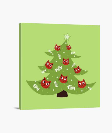 Lienzo árbol de navidad con adornos de peces gato