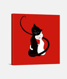 abrazo lindo de los gatos blancos y negros en lov