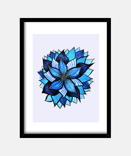Abstract Blue Flower Ink Drawing
