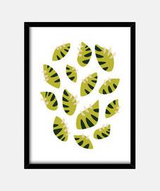 abstraktes schönes grünes blatt kratzte klaps