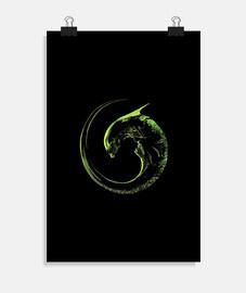 affiche alien, 01, vert sur noir.