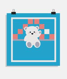 affiche carrée ours polaire chanceux