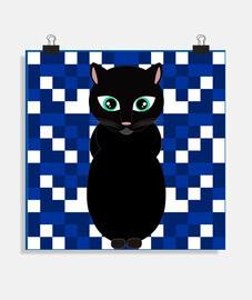 affiche de chat noir halloween