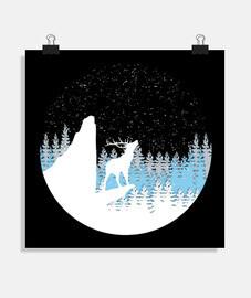 affiche de la forêt d'hiver