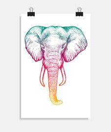 affiche éléphant holographique