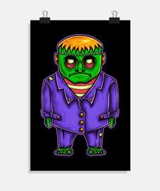 affiche frankenstein dessin anime terreur illustration dessiner