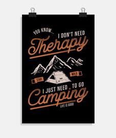 affiche rétro camping camp montagnes nature