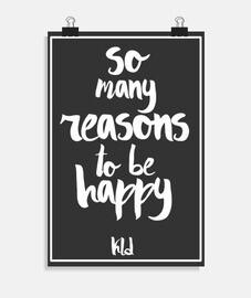 affiche, tant de raisons d'être heureux blanc