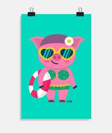 affiche verticale de cochon (20 x 30 cm)