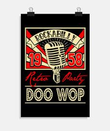 affiche vintage doo wop musique 1958 rockabilly retro USA rock and roll