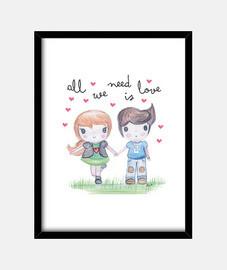 all vous avez besoin est amour - photo avec cadre vertical 3: 4 (30 x 40 cm)