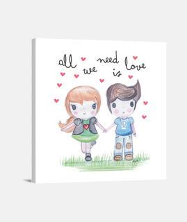 all vous avez besoin est amour - toile carrée 1: 1 - (40 x 40 cm)