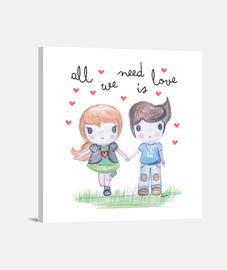 All you need is love - Lienzo Cuadrado 1:1 - (40 x 40 cm)