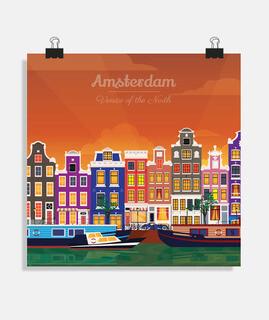 amsterdam de noche - ciudad y canales - idea de regalo de póster