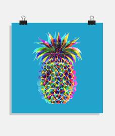 ananas pop // poster quadrato / sfondo blu